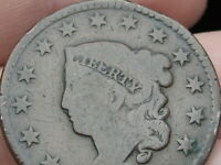 1826 MATRON HEAD LARGE CENT PENNY, NORMAL DATE, VG DETAILS