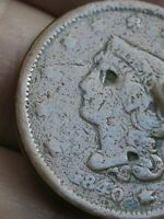 1840 BRAIDED HAIR LARGE CENT PENNY- SMALL DATE- VG DETAILS