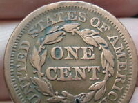 1851 BRAIDED HAIR LARGE CENT PENNY- VF DETAILS