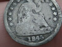 1845 SEATED LIBERTY HALF DIME- GOOD/VG DETAILS