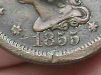 1855 BRAIDED HAIR LARGE CENT PENNY- UPRIGHT 5'S