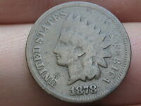 1878 INDIAN HEAD CENT PENNY- VG DETAILS, FULL DATE