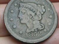 1852 BRAIDED HAIR LARGE CENT PENNY- FINE DETAILS