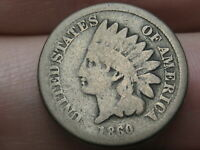 1860 COPPER NICKEL INDIAN HEAD CENT PENNY- ROUNDED BUST- GOOD/VG DETAILS