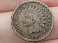 1860 COPPER NICKEL INDIAN HEAD CENT PENNY- POINTED BUST, FINE/VF DETAILS