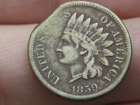 1859 COPPER NICKEL INDIAN HEAD CENT PENNY- EXTRA FINE  DETAILS, CLIPPED PLANCHET ERROR?