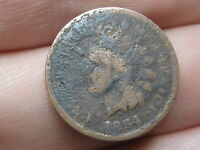 1864 L INDIAN HEAD CENT BRONZE PENNY, POINTED BUST