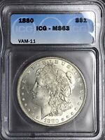 1880 P MINT STATE 63 VAM 11 DOUBLED 880, 8/7 HOT 50  STRIKE AND LUSTER MORGAN SILVER