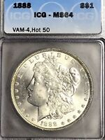1888 P MINT STATE 64 VAM 4 DOUBLED REVERSE HOT 50 MORGAN SILVER DOLLAR