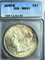 1880 S MINT STATE 65 VAM 11 0/9 OVERDATE HOT 50 OBV TONED MORGAN SILVER DOLLAR