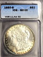 1880 S MINT STATE 65 VAM 11 0/9 OVERDATE HOT 50 LY TONED MORGAN SILVER DOLLAR