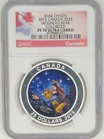 CANADA 2015 $25 PF70 ULTRA CAMEO COIN   STAR CHARTS  WOUNDED BEAR COLORIZED