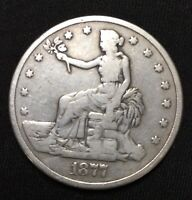 1877 P US SILVER TRADE DOLLAR $1 GENUINE OLD US TYPE COIN