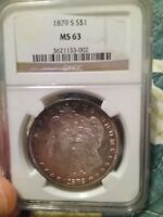 BEAUTIFUL BLUEBERRY TONED 1879-S MINT STATE 63 MORGAN