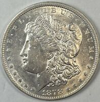 1878 MORGAN SILVER DOLLAR REVERSE OF 1879 AU CONDITION FIRST YEAR BETTER DATE $1