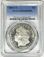 1883-CC PCGS MINT STATE 64 DMPL MORGAN SILVER DOLLAR PURE WHITE FROSTY MIRRORED FIELDS
