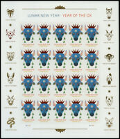 US 5556A CHINESE NEW YEAR OF THE OX IMPERF SHEET PANE NO DIE