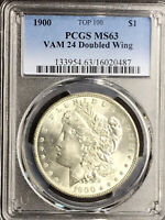 1900 P PCGS MINT STATE 63 VAM 24 DOUBLED WING, ARROWS TOP 100 MORGAN SILVER DOLLAR