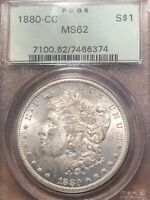 1880-CC MORGAN SILVER DOLLAR PCGS MINT STATE 62 OGH  TONING   COIN