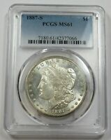 1887-S PCGS MINT STATE 61 SILVER MORGAN DOLLAR $1 US COINS ITEM 29136A