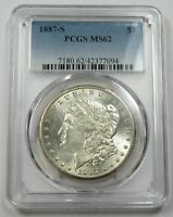 1887-S PCGS MINT STATE 62 SILVER MORGAN DOLLAR $1 US COINS ITEM 29139A