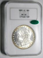 1880-CC MORGAN $1 NGC MINT STATE 64 CAC HOUSED IN 30YR OLD NGC BRICK CHOICE