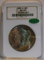 1880-S NGC MINT STATE 64 MORGAN -  MONSTER COLOR TONING   FATTY HOLDER / CAC CERTIFIED