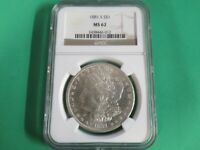 1881 S MORGAN SILVER DOLLAR - MINT STATE 62 - NGC