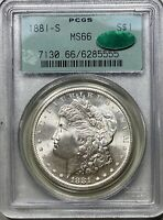 1881-S MORGAN SILVER DOLLAR $1 PCGS MINT STATE 66 OGH CAC APPROVED