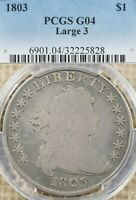 1803 $1 PCGS G04 LARGE 3 DRAPED BUST EARLY DOLLAR, GREAT COLOR