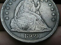 1869 SEATED LIBERTY SILVER DOLLAR- VF/EXTRA FINE  DETAILS