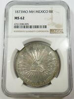 1873 MO NGC MS62 8 REALES SILVER MEXICO WORLD COINS ITEM 263