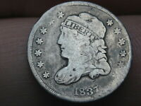1837 CAPPED BUST HALF DIME- SMALL 5C, VG DETAILS
