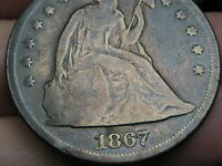1867 SEATED LIBERTY SILVER DOLLAR- VG DETAILS,  DATE
