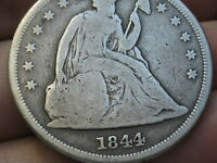 1844 SEATED LIBERTY SILVER DOLLAR- VG DETAILS,  DATE