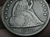 1868 SEATED LIBERTY SILVER DOLLAR- FINE DETAILS