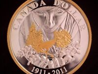 2011 CANADA 'PARKS CANADA' 'FROSTED PROOF' SILVER GOLD PLATE