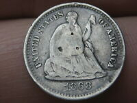 1868 S SEATED LIBERTY HALF DIME- FINE DETAILS