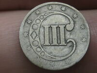 1853 THREE 3 CENT SILVER TRIME- TYPE 1, GOOD DETAILS
