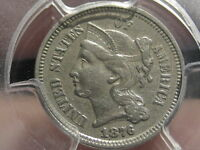 1876 THREE 3 CENT NICKEL- PCGS CERTIFIED EXTRA FINE  DETAILS