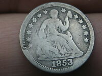 1853 SEATED LIBERTY HALF DIME- NO ARROWS, GOOD/VG DETAILS