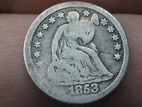 1853 SEATED LIBERTY HALF DIME- NO ARROWS, GOOD DETAILS
