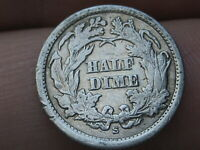 1864 S SEATED LIBERTY HALF DIME- VF DETAILS