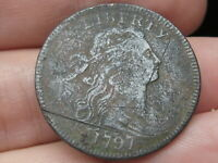 1797 DRAPED BUST LARGE CENT PENNY- REVERSE OF 1797, WITH STEMS, VF/EXTRA FINE  DETAILS