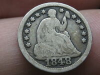 1848 LARGE DATE SEATED LIBERTY HALF DIME- VG/FINE DETAILS