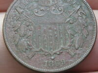 1869 TWO 2 CENT PIECE- VF/EXTRA FINE  DETAILS
