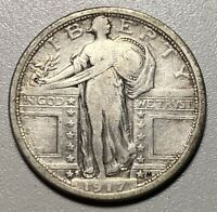 1917-S STANDING LIBERTY 25C SILVER QUARTER TYPE 1