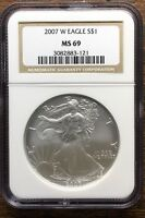 2007 NGC CERTIFIED MINT STATE 69 AMERICAN SILVER EAGLE .999 ASE