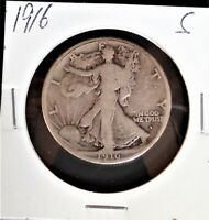 1916S LIBERTY WALKING HALF DOLLAR KEY DATE  COLLECTOR GRADE ONLY 508K MINTED