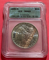 1881 S ICG MINT STATE 65 CERTIFIED GRADED ELECTRIC OBVERSE TONED MORGAN
